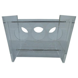 Lucite Wine Rack with Metal Crossbars