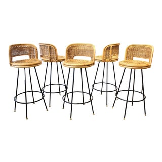 Rattan & Wrought Iron Bar Stools - Set of 5