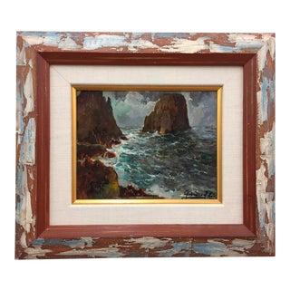Framed & Signed Seascape Oil Painting