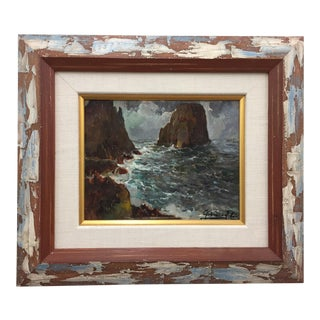 Framed & Signed Seascape Oil Painting