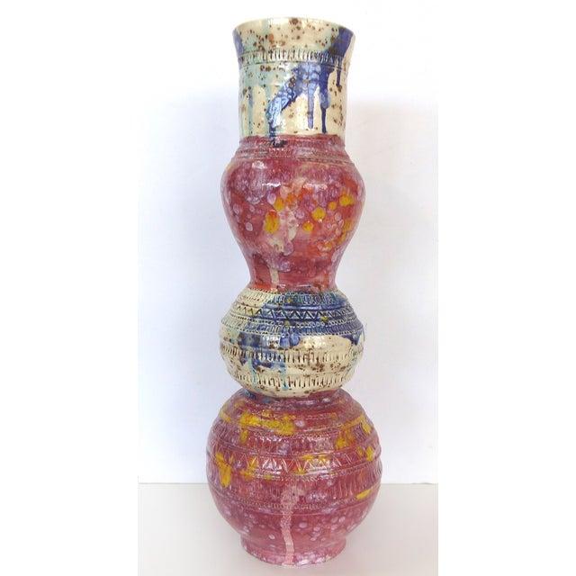 Red & Blue Glazed Ceramic Vase by Gary Fonseca - Image 2 of 8