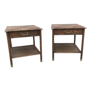Faux Bamboo & Brass End Tables - A Pair