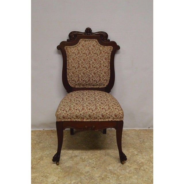 Antique Mahogany 3pc Parlor Set : Settee , Arm Chair , Chair - Image 10 of 11