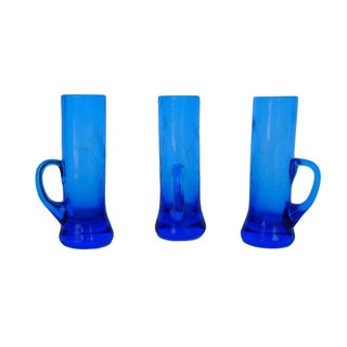 Blue Glass Shot Glasses - Set of 3