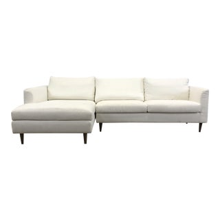Midcentury Ivory Left Chaise Sectional Sofa