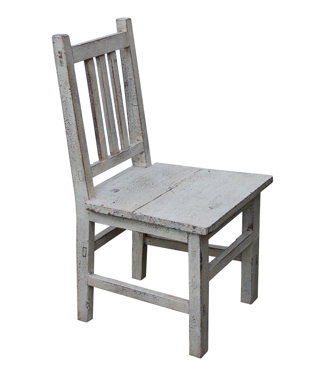 Asian Style Handmade Rustic White Small Wood Chair   Image 3 Of 5
