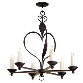 Fine Italian Six Arm Wrought Iron Chandelier by Randy Esada Designs Inc for PROSPR