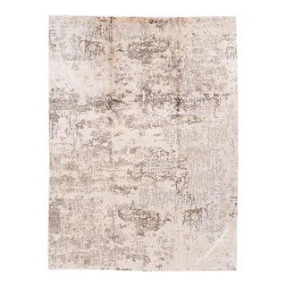 "Apadana - 21st Century Abstract Beige/Silver Contemporary Indian Carpet, 8'9"" x 11'9"""