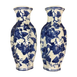 Blue & White Floral Wall Pockets - A Pair