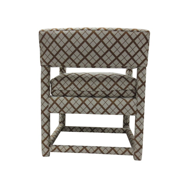 Mid-Century Brown & White Armchairs - A Pair - Image 7 of 9