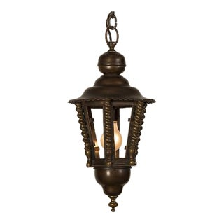 A handsome brass hall lantern from France c. 1920 with a hexagon shape.