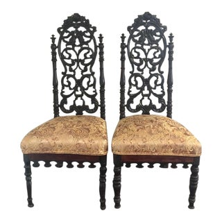 Victorian Gothic Rosewood Chairs - A Pair