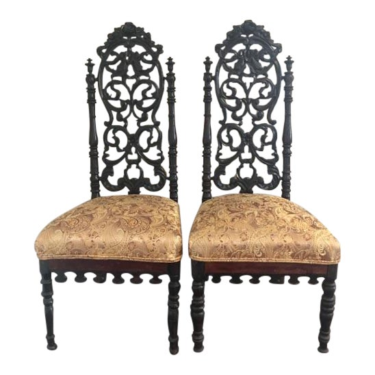 Victorian gothic rosewood chairs a pair chairish for Victorian gothic chair