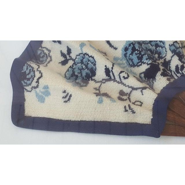 Framed Antique Floral Needlepoint Hand Fan - Image 6 of 7