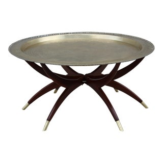 1960's Spider Base Coffee Table With Brass Tray Top