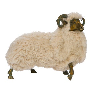 Lanlanne Style Solid Bronze & Fur Sheep Sculpture
