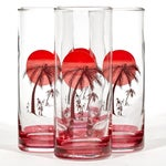 Image of 1960's Palm Tree Drinking Glasses - Set of 4