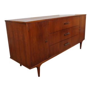 American Modern Lane Furniture Walnut Dining Room Sideboard Credenza Circa 1970's