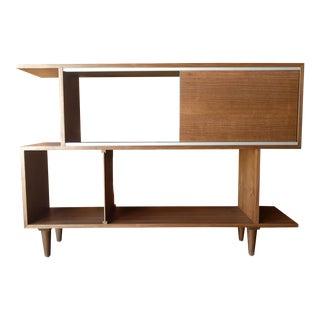 Mid Century Style Custom Walnut Zig Zag Shelf