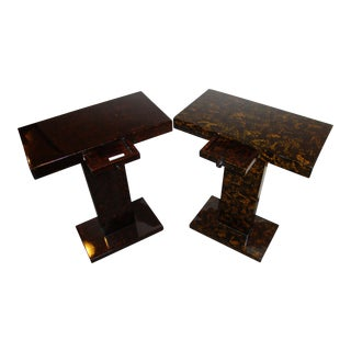 Jonathan Charles Tortoise Shell End Tables - A Pair