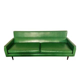 Mid-Century Modern Green Vinyl Sofa