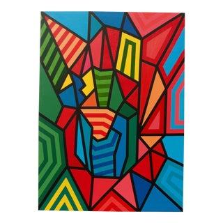 Vintage Geometric Acrylic Painting