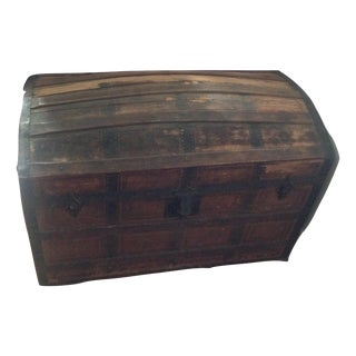 Large Antique Trunk Domed Camelback Saratoga