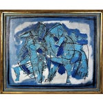 Image of Pierre Bosco Mid-Century Absract Expressionist Oil Painting of Horses