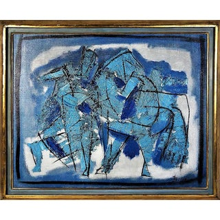 Pierre Bosco Mid-Century Absract Expressionist Oil Painting of Horses