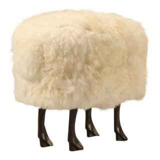 Sheep Ottoman with Faux Fur