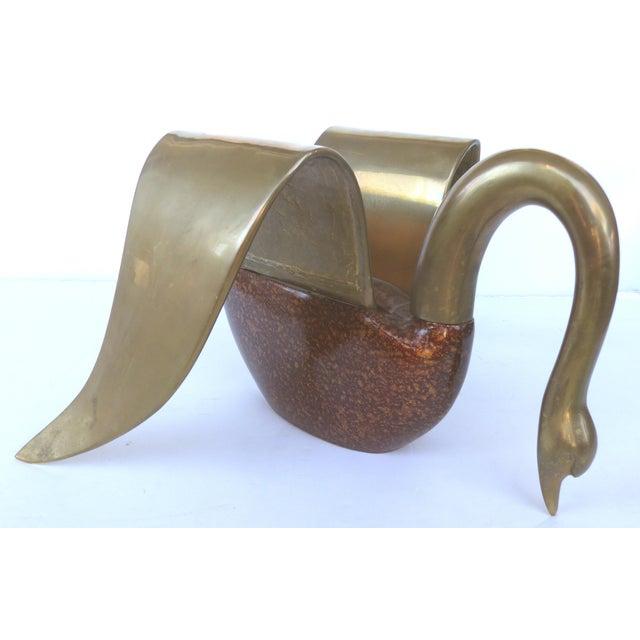 Brass & Tortoise Swan Coffee Table - Image 2 of 10