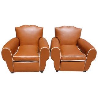 French Art Deco Vinyl Club Chairs - A Pair