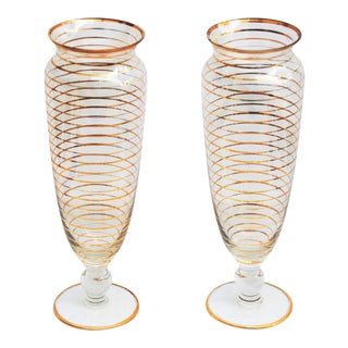 Vintage Glass Vases With Gold Banding - Pair