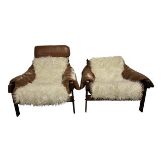 Percival Lafer Leather & Faux Fur Lounge Chairs - A Pair