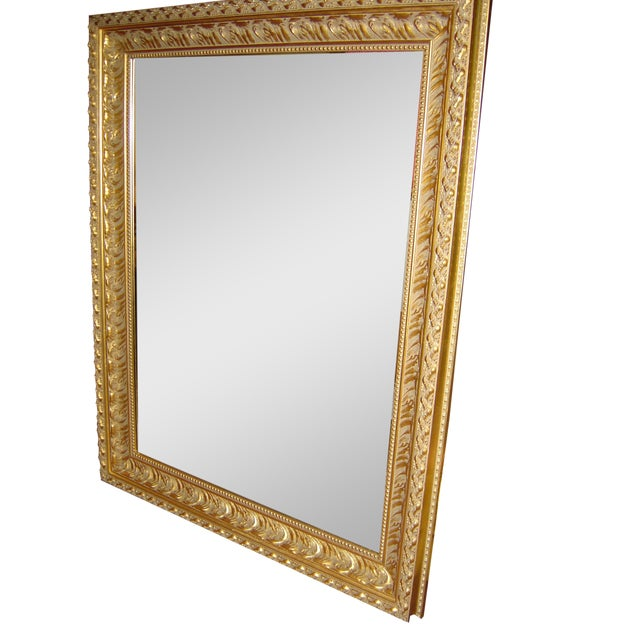 Large Beveled Glass & Gold Accents Mirror - Image 1 of 4