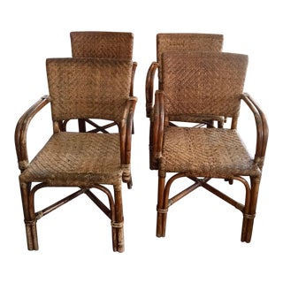 Antique Rattan Bistro Dining Office Chairs - Set of 4