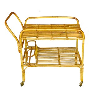 Vintage Rattan Bar Cart