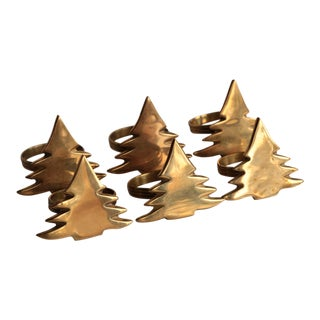Brass Christmas Tree Napkin Rings - Set of 6