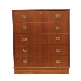 Danish Teak 5 Drawer Brass Handle Dresser