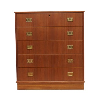 Danish Teak 5 Drawer Brass Handle Dresser