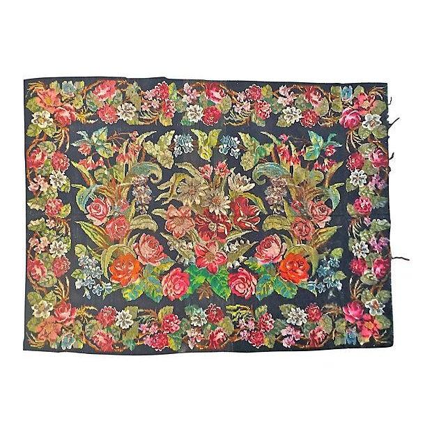 "Image of Antique Bessarabian Pink Floral Rug - 13' x 7'10"""