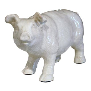 Mid-Century French Crackle Finished Faience Pig