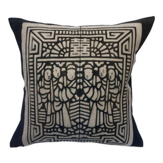 Chinese Hand Blocked Story Quilt Pillow