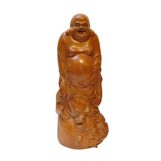 Chinese Hand Carved Standing Happy Buddha Budai Luohan Statue On Cloud Base