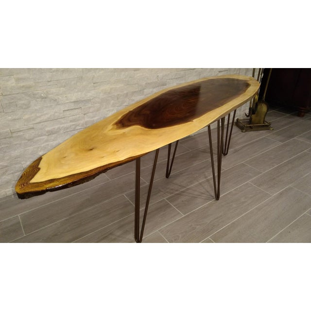 Image of Live Edge Walnut Coffee Table with Hairpin Legs