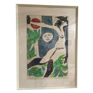 Mid-Century Framed Nude Lithograph
