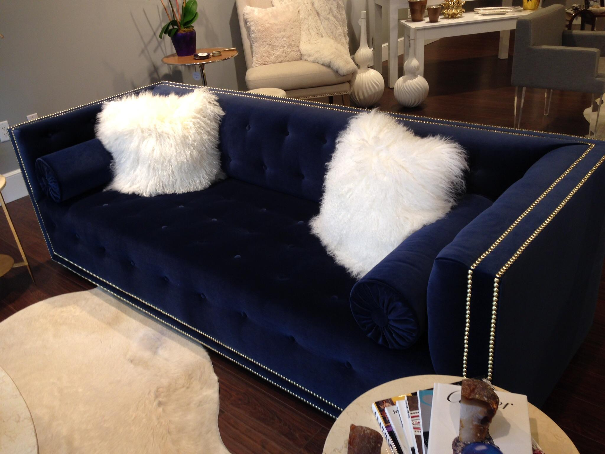 navy velvet senda sofa and two bolster pillows chairish