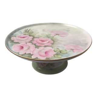 Vintage Floral Cake Plate Pedestal