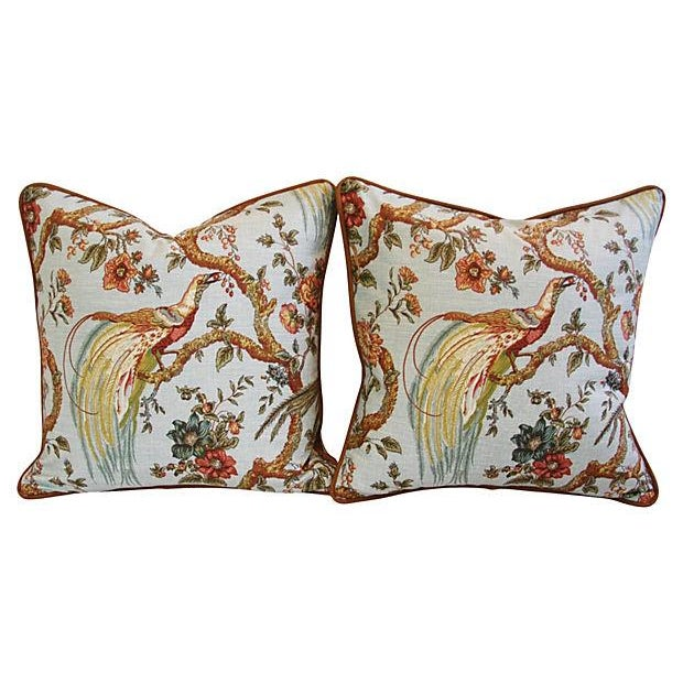 Custom Exotic Chinoiserie Fowl Pillows - Pair - Image 6 of 7