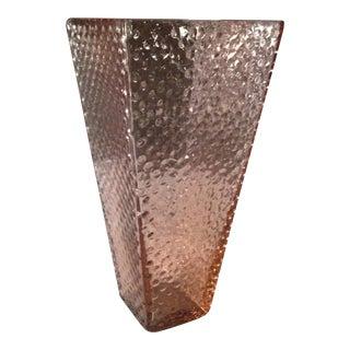 Vintage Pink Glass Hobnail Vase